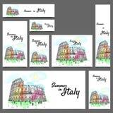 La bannière sociale de media a placé pendant des vacances d'été en Italie Photos stock
