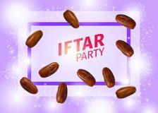 La banni?re de partie d'Iftar avec le vecteur r?aliste sec des dattes illustration stock