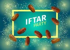 La banni?re de partie d'Iftar avec le vecteur r?aliste sec des dattes illustration de vecteur