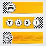 La bannière fraîche de société de taxi a placé avec les éléments métalliques Images libres de droits