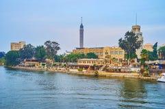 La banque de l'île de Gezira, le Caire, Egypte photos stock
