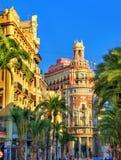 La banque de Valence, un bâtiment historique a construit en 1942 - l'Espagne Images stock