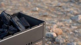 La barbacoa se coloca en la orilla del lago almacen de video