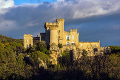 La Barben Medieval Castle On Sunset Royalty Free Stock Photos