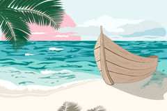 La barca è sulla riva di mare all'estate Immagini Stock