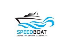 La barca astratta della velocità ed il mare blu ondeggia - vector l'illustrazione di concetto del modello di logo di affari Segno