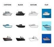 La barca della protezione, la lancia di salvataggio, vapore del carico, mette in mostra l'yacht Navi ed icone stabilite della rac Immagine Stock