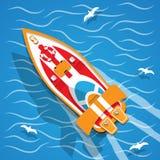 La barca di corsa illustrazione di stock