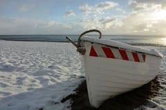la barca e la neve Fotografia Stock Libera da Diritti