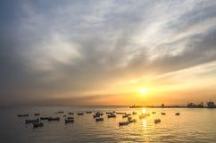 La barca nel tramonto Fotografie Stock