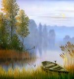 La barca sulla banca del lago Fotografia Stock