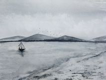 La barca a vela della pesca marittima del paesaggio dell'inchiostro dell'acquerello alle montagne dell'isola e della costa annebb royalty illustrazione gratis