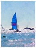 La barca a vela di DW con le vele blu aumenta 1 Fotografia Stock