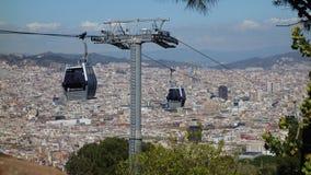 La Barcellona-Spagna 28 marzo 2017 - giro della cabina di funivia di Montjuïc, divertimento Fotografie Stock Libere da Diritti