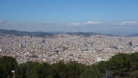 La Barcellona-Spagna 28 marzo 2017 - vista del castello di Montjuïc dalla VE Immagine Stock Libera da Diritti