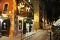 La Barceloneta在晚上 免版税库存照片