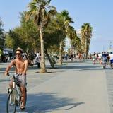 La Barceloneta沿海岸区在巴塞罗那,西班牙 免版税库存图片