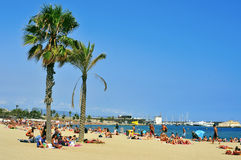 La Barceloneta海滩,在巴塞罗那,西班牙 免版税库存照片