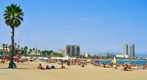 La Barceloneta Beach, in Barcelona, Spain Royalty Free Stock Photos