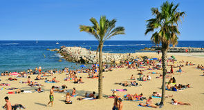 La Barceloneta Beach, in Barcelona, Spain Stock Images