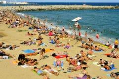 La Barceloneta Beach, in Barcelona, Spain Royalty Free Stock Images