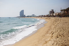 La Barceloneta. Beach in the morning, Barcelona, Spain Royalty Free Stock Photography