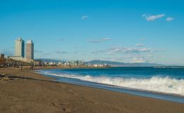 At La Barceloneta district beach, on March 15, 2013 in Barcelona, Spain Stock Image