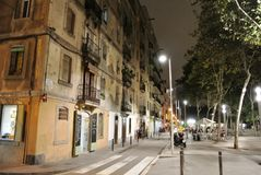 La Barceloneta in the evening. La Barceloneta is a lively neighbourhood in central Barcelona located next to the beach. It is known for its long sandy beach and Royalty Free Stock Photo