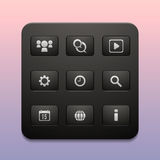 La barra de herramientas de los nueve iconos para Internet y los dispositivos móviles Fotos de archivo