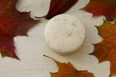 La barra de redondo friega el jabón, con las hojas de arce Foto de archivo libre de regalías