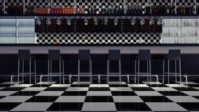 La barra moderna 3d interior del café rinde el ejemplo 3d Fotos de archivo libres de regalías