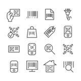 La barra y el qr cifran la línea fina iconos del vector de la exploración Fotos de archivo
