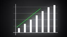 La barre analogique croissante avec la flèche en hausse, le graphique prévu financier, 3d rendent généré par ordinateur illustration libre de droits