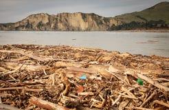 La barre oblique de sylviculture a lavé sur la plage à la baie de Tolaga, Nouvelle-Zélande après une inondation image libre de droits