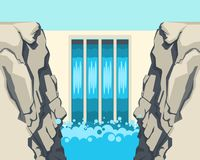 La barrera de la presa corta o restringe el flujo de corrientes del agua subterráneo Imagenes de archivo