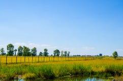 La barrière à travers les terres cultivables Image libre de droits