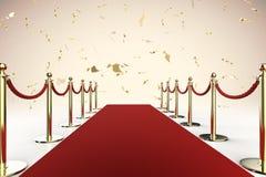 La barrière de tapis rouge et de corde avec de l'or brillant scintillent Photos libres de droits