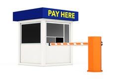 La barrière de voiture de route et la cabine de zone de stationnement avec le salaire ici signent 3D r Photographie stock libre de droits