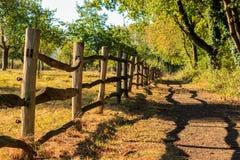 La barrière en bois jette l'ombre Het Vinne, Zoutleeuw, Flandre, Belgi Photos stock