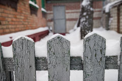 La barrière l'hiver Images libres de droits