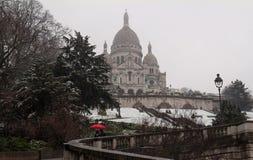 La basílica Sacre Coeur en el invierno París, Francia Fotografía de archivo