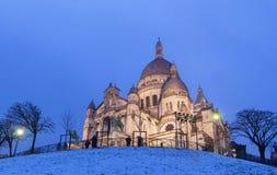 La basílica Sacre Coeur en el invierno París, Francia Foto de archivo libre de regalías