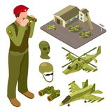 La base aérienne militaire isométrique avec l'hélicoptère, chasseur, soldats dirigent l'illustration illustration libre de droits