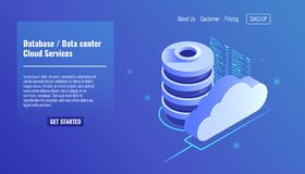 La base de datos y el icono del datacenter, nube mantiene el concepto, la copia de seguridad de fichero y el ahorro, vector isomé ilustración del vector