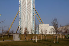 La base de la torre de Isozaki en Citylife; Milán, Italia Imagen de archivo libre de regalías