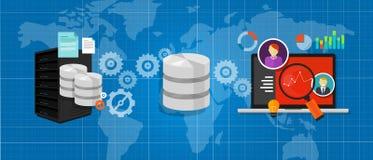 La base di dati di integrazione di dati collega l'analisi del grafico degli archivi di media Fotografia Stock