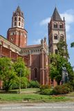 La basilica del ` Andrea di Sant a Vercelli sull'Italia fotografia stock libera da diritti