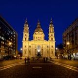 La basilica nell'ora blu, Budapest, Ungheria di St Stephen Fotografia Stock