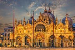 La basilica patriarcale della cattedrale di St Mark a Venezia, Italia fotografie stock libere da diritti