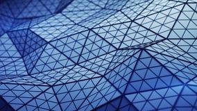 La basse poly forme bleue tordue 3D rendent l'illustration illustration stock